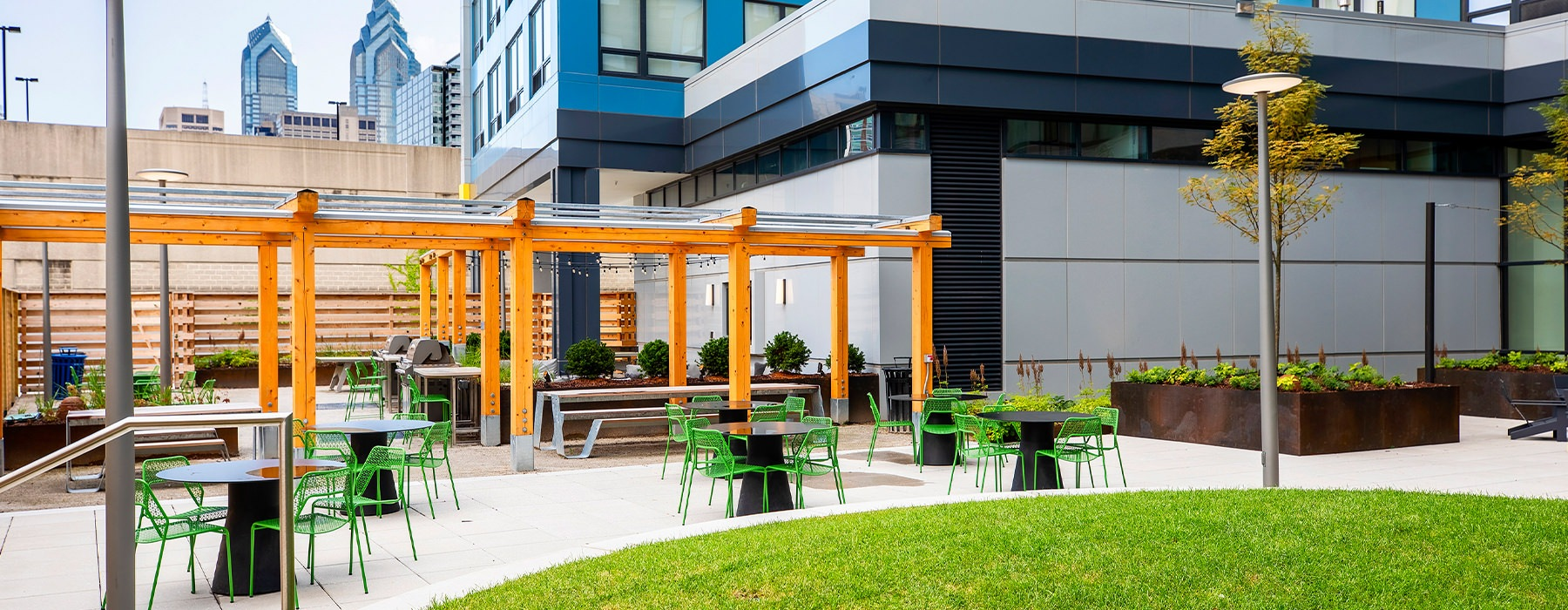 Outdoor Community Space with table and chair seating